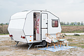 Restored 80s caravan used as small holiday home