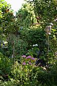 Shady garden corner with hydrangeas