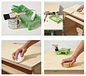 Instructions for building a workshop trolley (sanding surfaces)