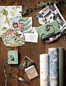 Various samples of wallpaper and fabrics