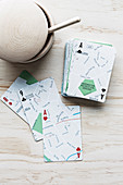 Playing cards with a street map motif