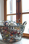 Christmas decorations in wire basket