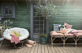 Cane furniture with pink tones