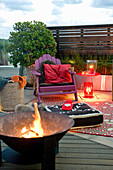 Fire bowl in cosy seating area on terrace