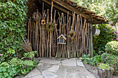 Barn with door made from hazel branches