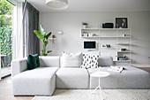 Grey, modern sofa in minimalist living room