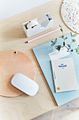 Handmade leather mousepad on desk