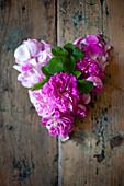 Pinkfarbene Rosen auf Holztisch