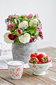 Early summer bouquet of Sweet William, Peonies and viburnum