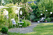 A small gravel terrace with seating and climbing rose on the pergola