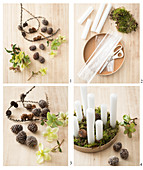 Instructions for making arrangement of candles, pine cones and hellebore flowers