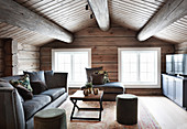 Attic living room in log cabin