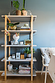 Ornaments and plants on deep, simple shelves against blue-grey wall