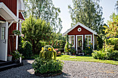 Swedish house with courtyard, summer garden and summerhouse