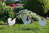 Hen ornaments in front of bed of tulips and candytuft in spring garden