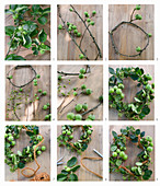 Instructions for making a wreath of apple branches and viburnum berries