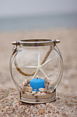 Candle lantern decorated with seashells and dried starfish