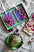 Handmade scented wax and dried flowers