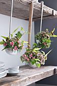 Flower arrangements in vintage ladles