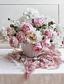 Romantic bouquet of peonies