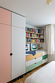 Wardrobe and chest of drawers with multicoloured fronts