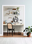 Glance into the study with shelf and pin board