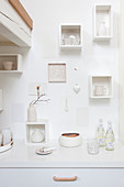 Ornaments in small white shelving modules on wall