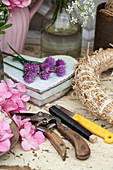 Craft materials for making a flower wreath