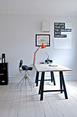 Desk on trestles in a minimalist study