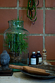 Plant in a glass vase as a rustic decoration
