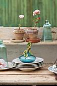 Geranien, Glasglocken und Vase mit Johannisbeeren auf einem Tellerstapel