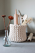Kitchen utensils in knitted basket