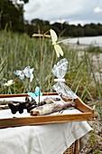 Gebastelte Schmetterlinge und Libellen an Treibholz in einem Tablett