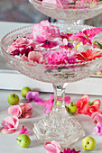 Pale pink and deep pink flowers floating in glass confectionary dish