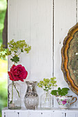 Roses and lady's mantel in vintage cases and teacup