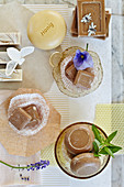 Honey soaps in nostalgic bowls and muffin cases