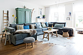 Gray sofa lounge in the living room in vintage style