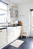 Modern country kitchen in black and white