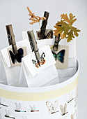 Paper bags with butterfly motifs and wooden clips in a round box