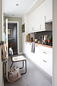 Narrow kitchen with white kitchenette and natural decoration, view into the bathroom