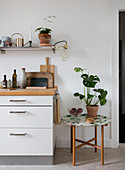 Tray table with Monstera next to the kitchenette with shelf