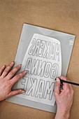 Prepping a linoleum print block