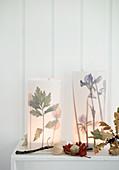 DIY-Laternen mit gepressten Blättern und Blumen