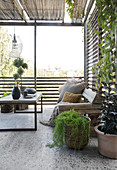 A coffee table, a rustic wooden bench and plant pots on a terrace