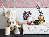Cardboard box and vases
