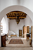 Oriental ceiling lamp in the Mediterranean hallway with stone floor