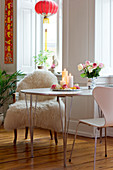 Roses on a table in a Small space modern dining area