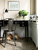 Dog lying under a black desk with a metal chair
