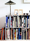 A table lamp on a bookcase