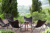 Butterfly chairs on terrace